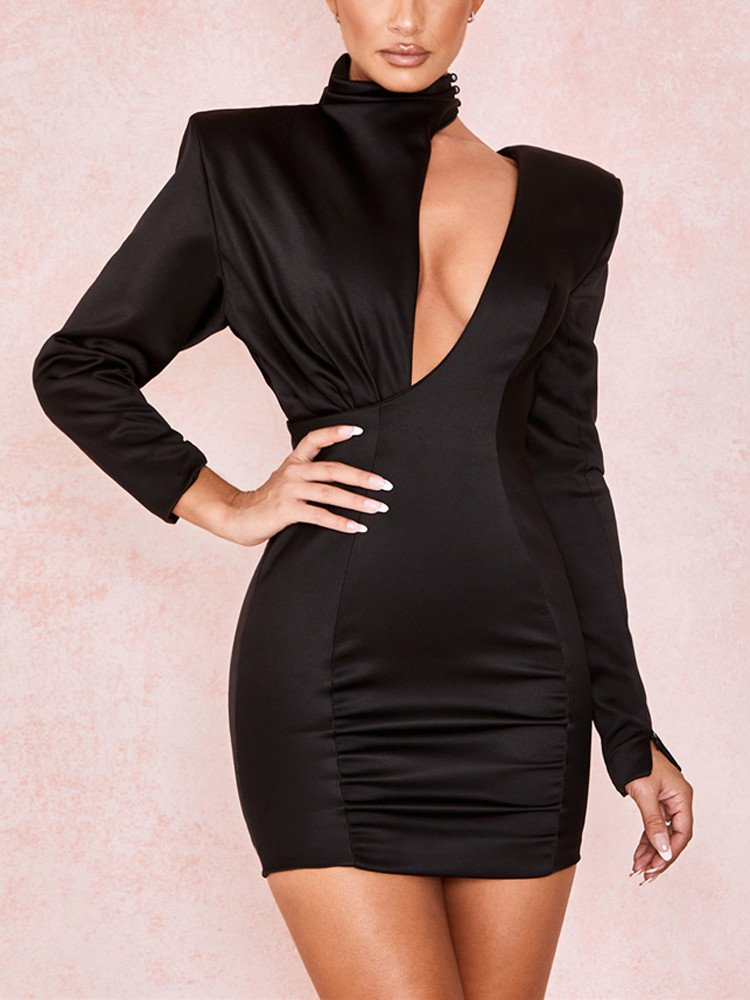 Black bodycon dress high neck in women and sneakers