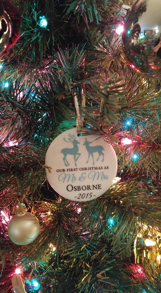 Newlywed Reindeer Ornament | Personalized Holiday Ornament | Personalized Gift | Customer Photo | peachwik.com