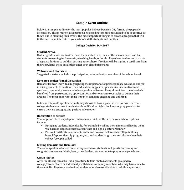 Sample Event Outline Pdf  Outline Templates  Create A Perfect
