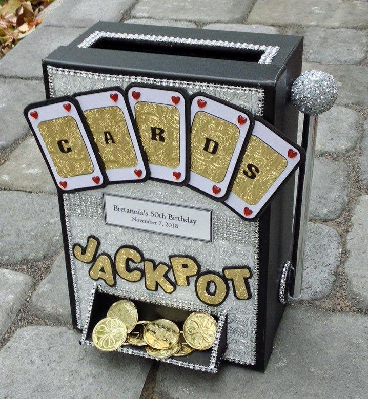 Slot machine card box,50th birthday gift,jackpot,card box with slot,50th anniversary gift,slot machine cake topper,slot machine card,vegas