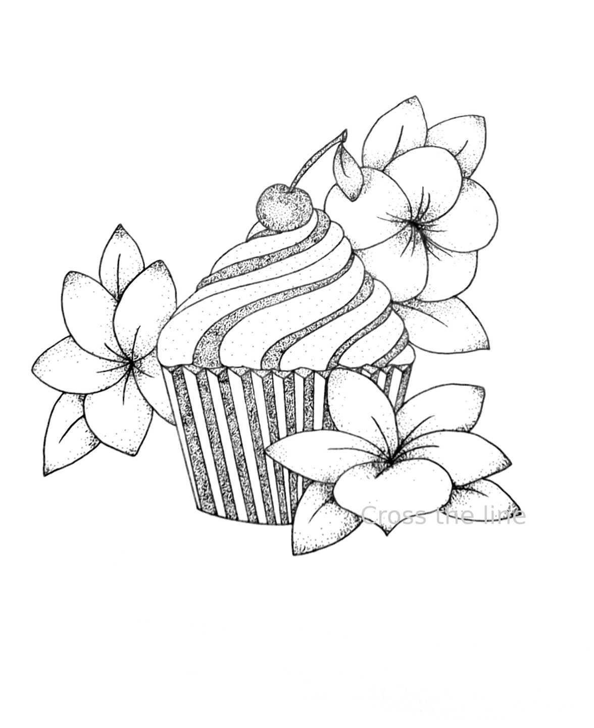 Cupcake cerise et fleurs print reproduction dessin en dotwork dessins par cross the line - Dessin cerise ...