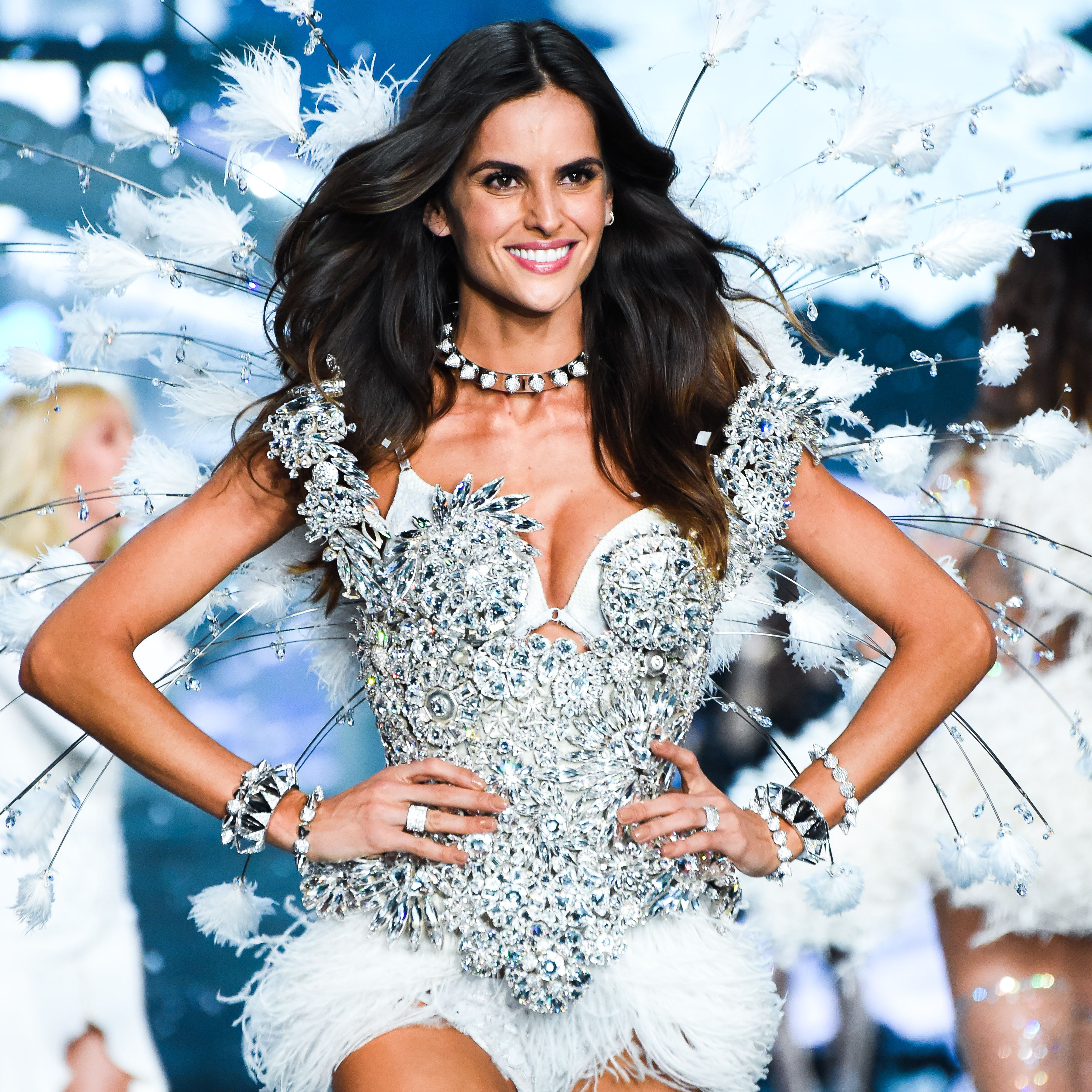 Another look designed by Serkan Cura adorned with #Swarovski crystals for tonight's #VSFashionShow. See it in action on CBS at 10/9c.