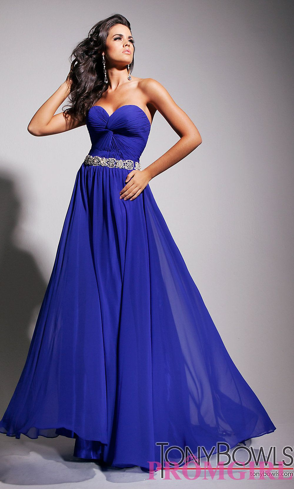 royal blue dresses | Strapless Pink Prom Gown, Tony Bowls Strapl ...