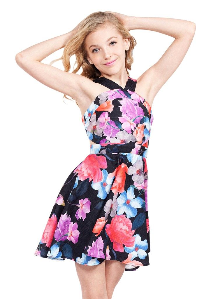 Allison Black Floral- Tween Girl Dresses - MissBehaveGirls.com ...
