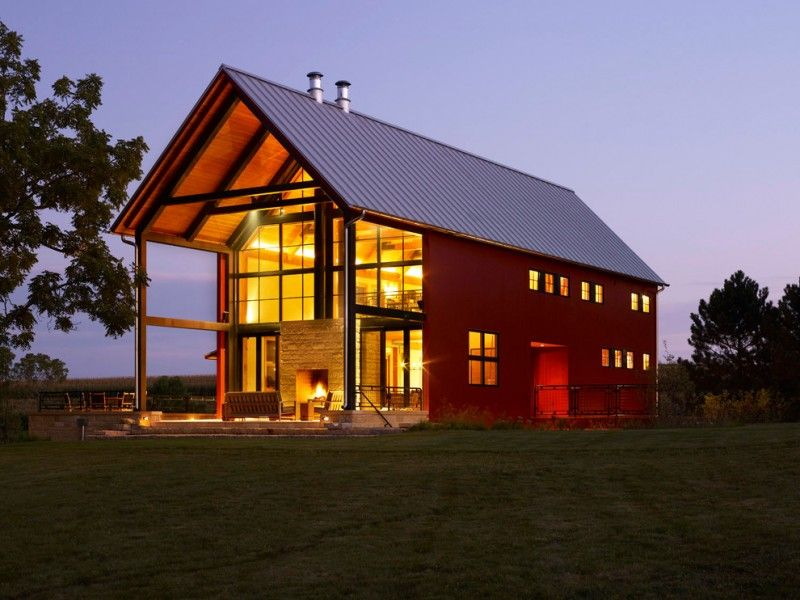 pole barn house plans big house metal roof red wall small windows ...
