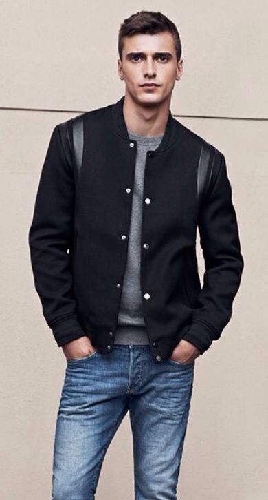 Black Baseball Style Jacket Grey Sweater And Faded Jeans By H M Men S Fall Winter Fashion Mens Jackets Fall Mens Fashion Inspiration Mens Clothing Styles