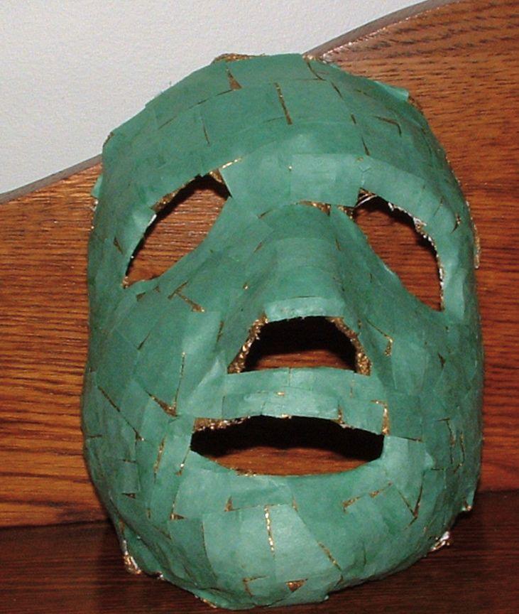 Ancient Maya jade face mask using paper mache strips