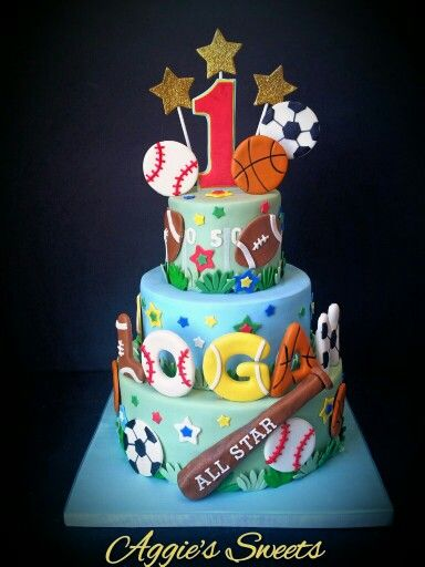 All Star Sports Cake With Images Sports Theme Birthday Sports