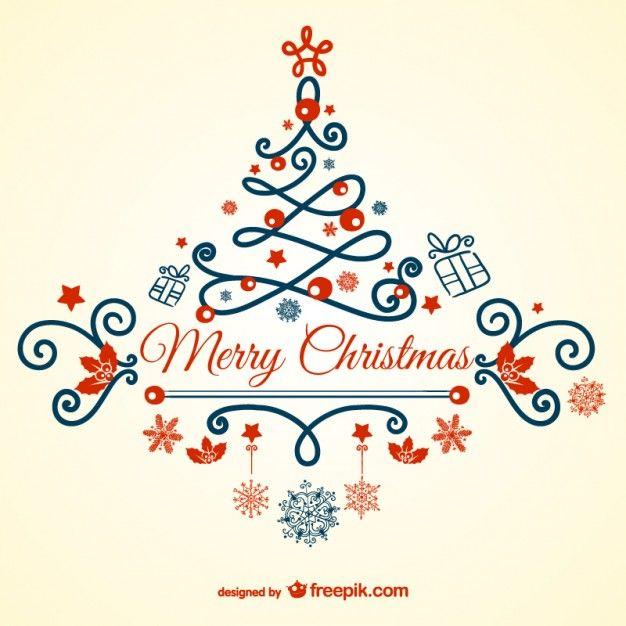 Elegant Vintage Merry Christmas Card Free Vector Idea