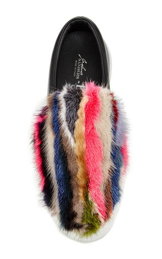 Rainbow Mink And Leather Slip On Sneakers by JOSHUA SANDERS Now Available on Moda Operandi