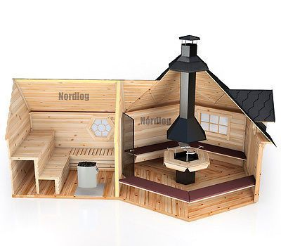 nordlog grillkota 9 2m2 mit verl ngter saunaanbau grillhaus gartensauna h tte sauna outdoor. Black Bedroom Furniture Sets. Home Design Ideas