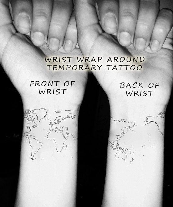 World Map Wrist Temporary Tattoo Globe Art Atlas Wrap by FastTat ...