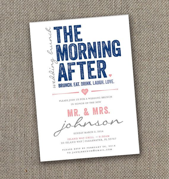 Invitation For Reception After The Wedding: Wedding Brunch Invitation. Modern