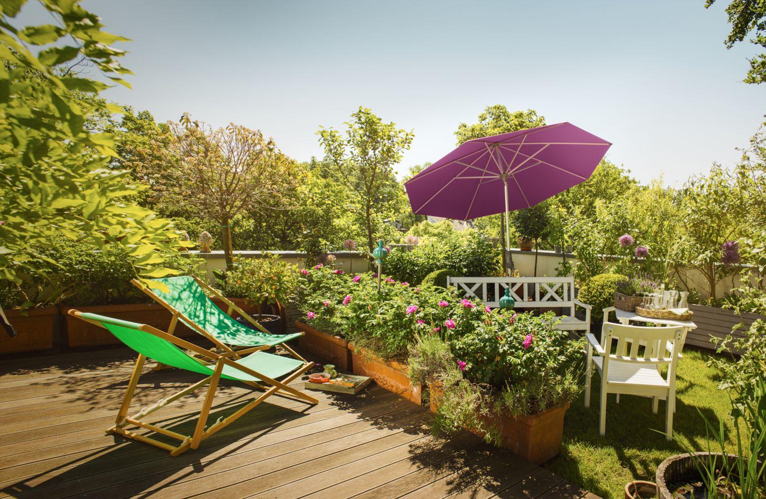 Grüne Dachterrasse glatz alu twist auf grüner dachterrasse lila sonnenschirm