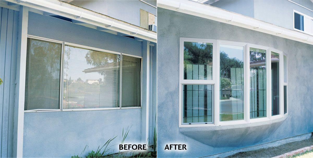 Classy Bow Windows Renovation Before Aluminum Mill Finish Double Vent After Milgard Tuscany Series Vinyl Bow Window W Window Renovation Bow Window Windows