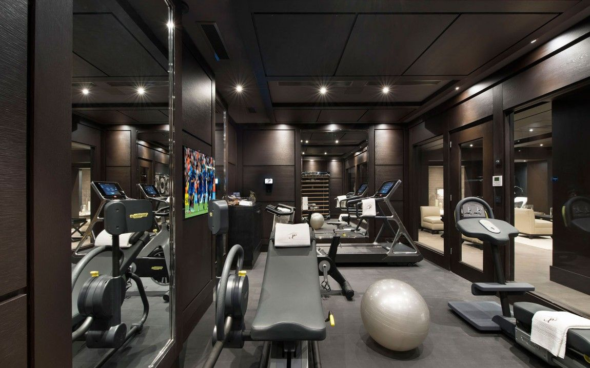Modern gym as part of inspiring modern chalet interior misc