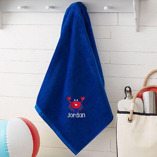 Embroidered Beach Towel For Kids 36x72 Sea Creatures Custom