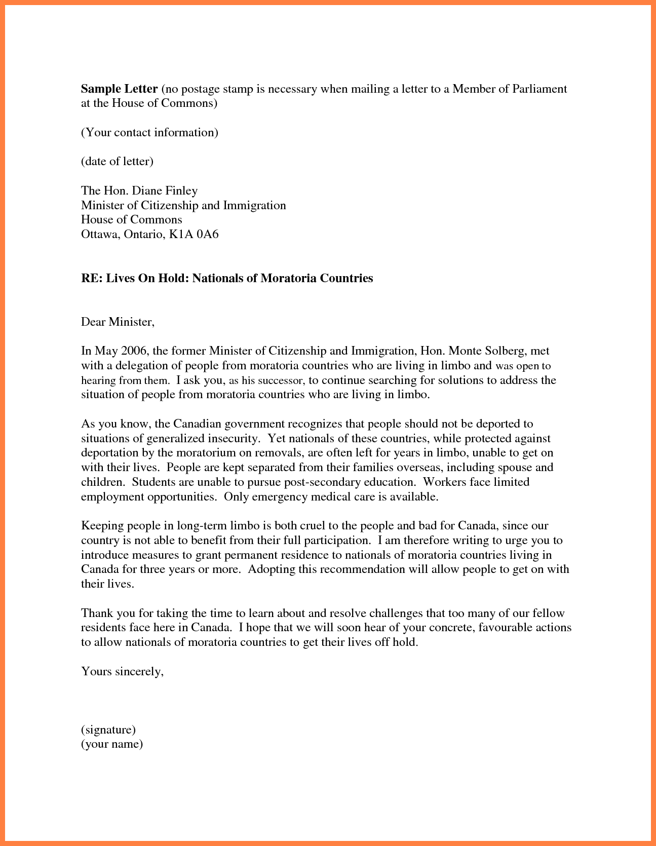 Personal Recommendation Letter For Immigration Sample  Appeal