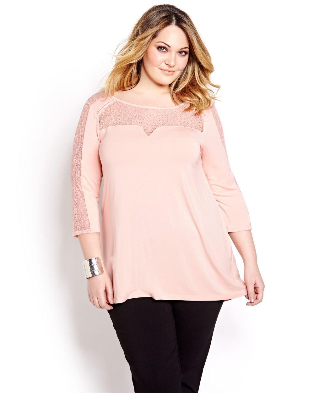 f132828983a Flowing tunic shirt with lace inserts brings a trendy touch of romantic  chic to your wardrobe. Plus size, 3/4 sleeves, lace inserts at upper body  and ...