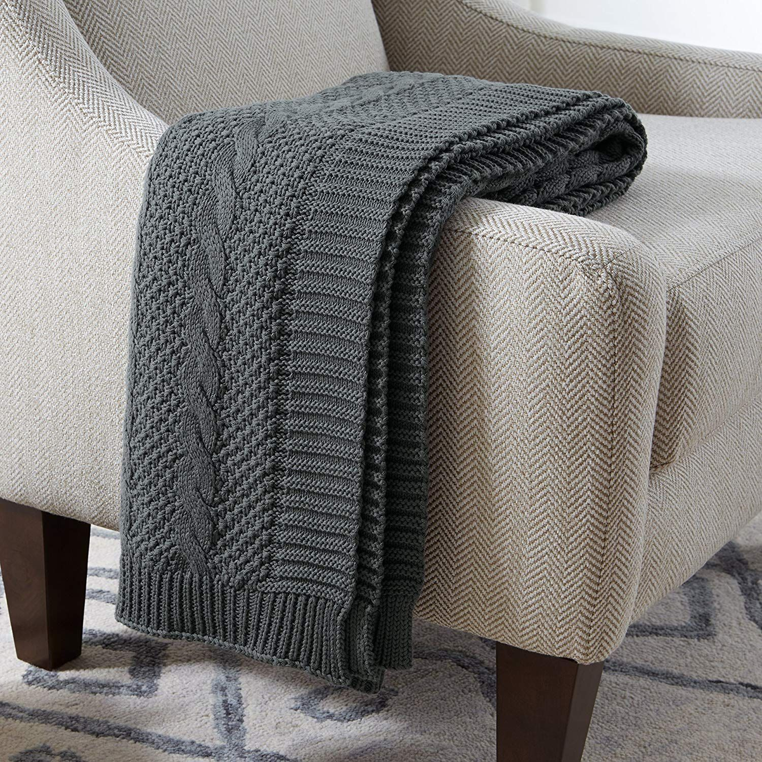 """Stone & Beam Transitional Chunky Cable Knit Throw, 70"""" x"""