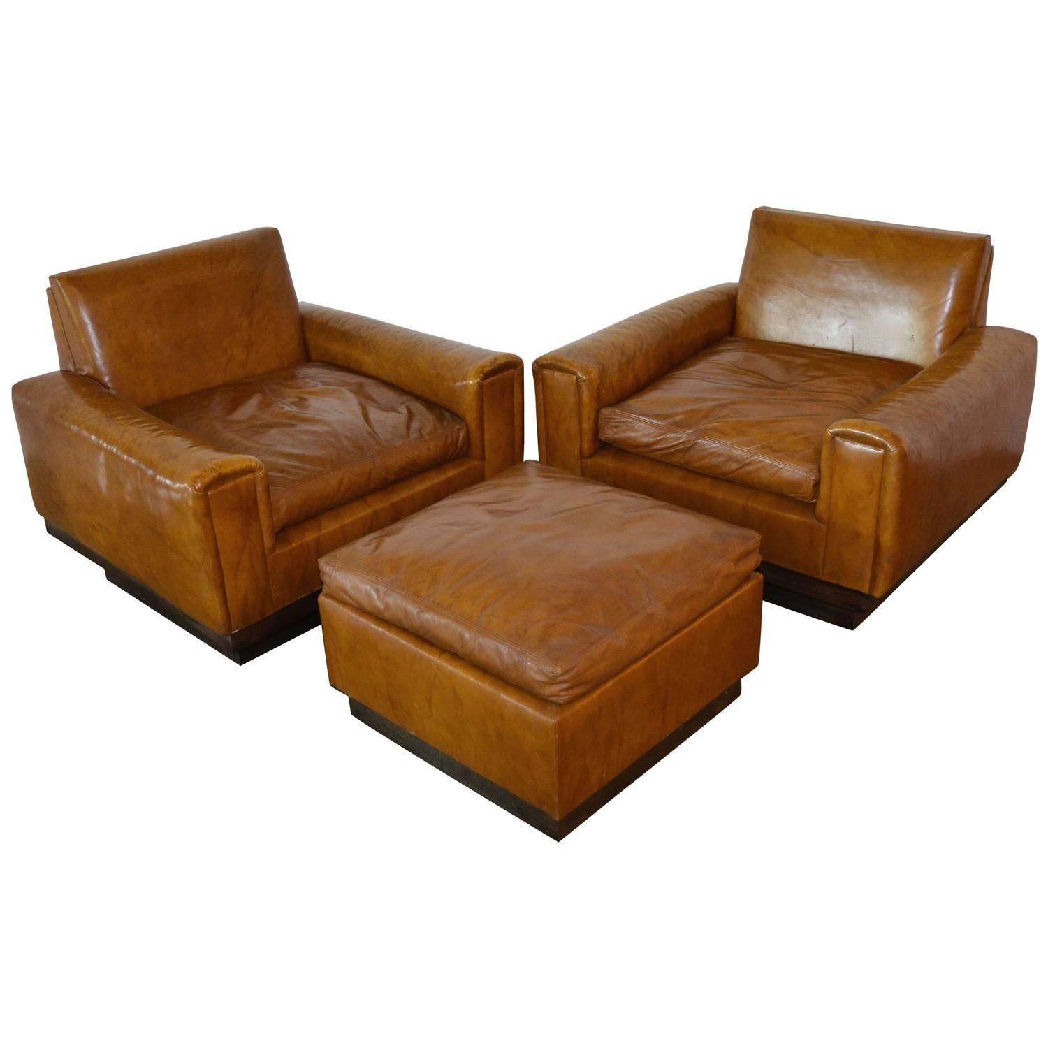 Best Mid Century French Cognac Leather Club Chairs And Ottoman 400 x 300