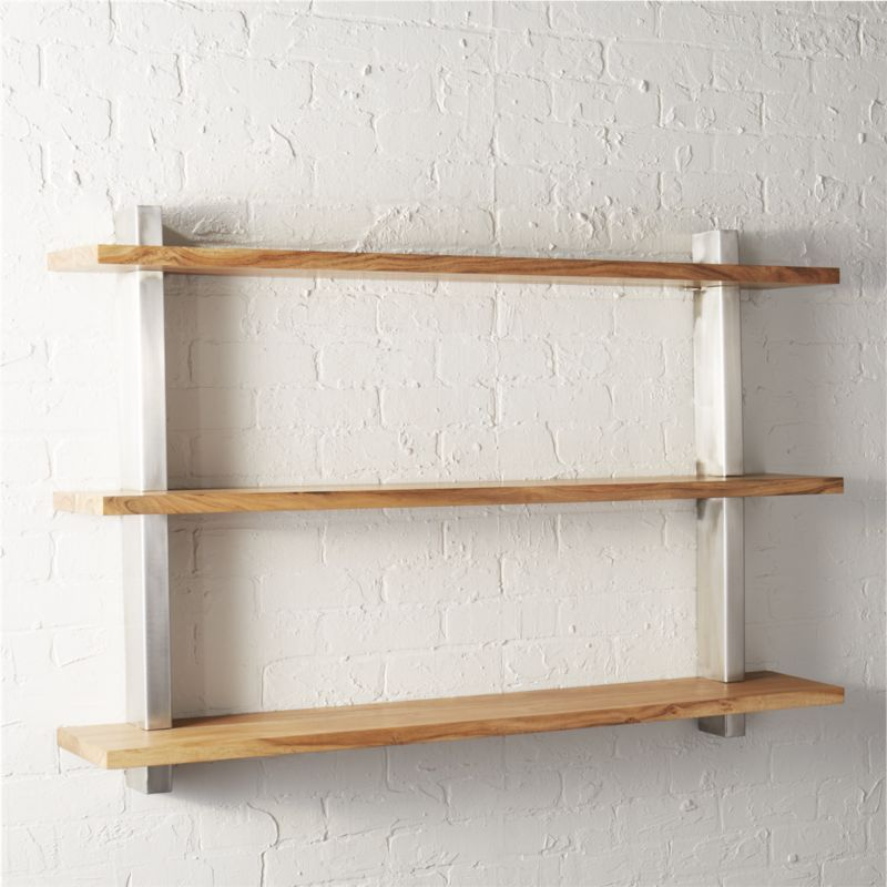 Shop Post Large Wall Shelf Our Largest Wall Mounted Shelving Yet Shiny Stainless Steel Posts Stack Three Natura Large Wall Shelves Shelves Modern Shelving