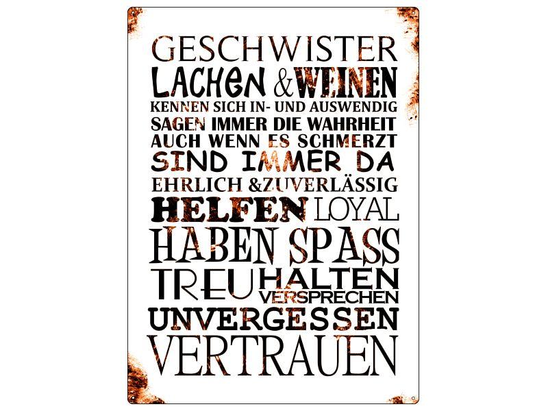 Shabby Blechschild METALL Wandschild GESCHWISTER   Shabby