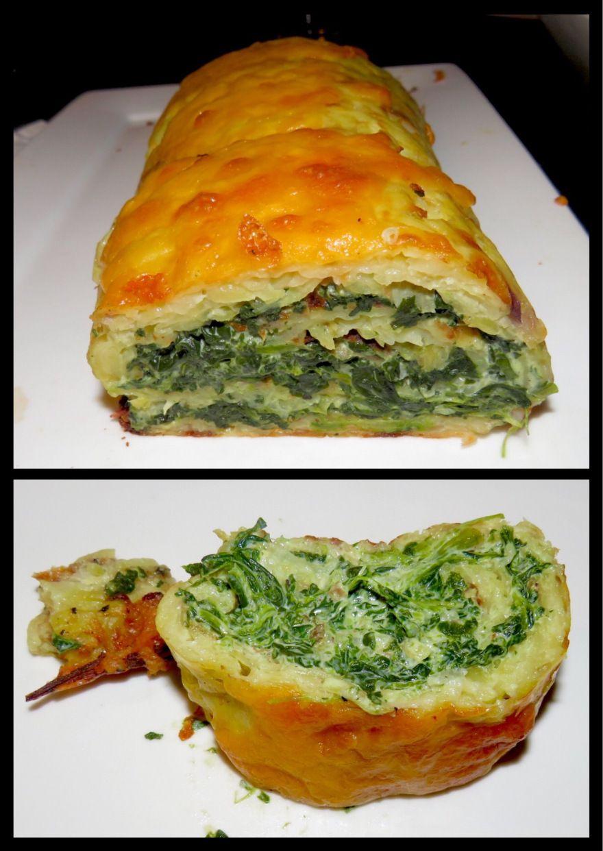 Kartoffelrolle mit Spinat (Spinach filled potatoe roll)