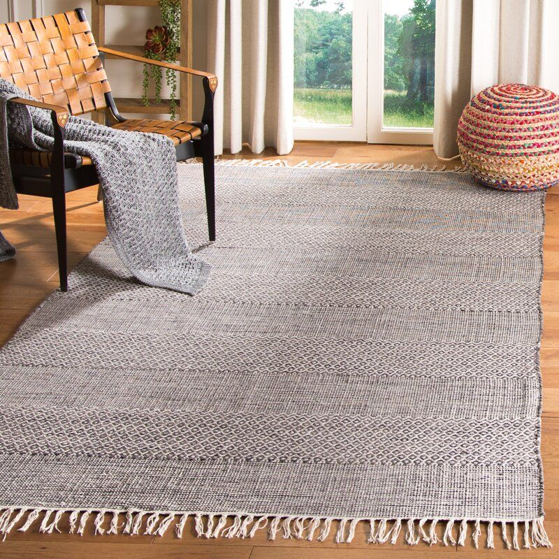Laurel Foundry Modern Farmhouse Brenham Handwoven Cotton Ivory Anthracite Area Rug Birch Lane 308 9x12 In 2020 Area Rugs Flat Weave Cotton Area Rug