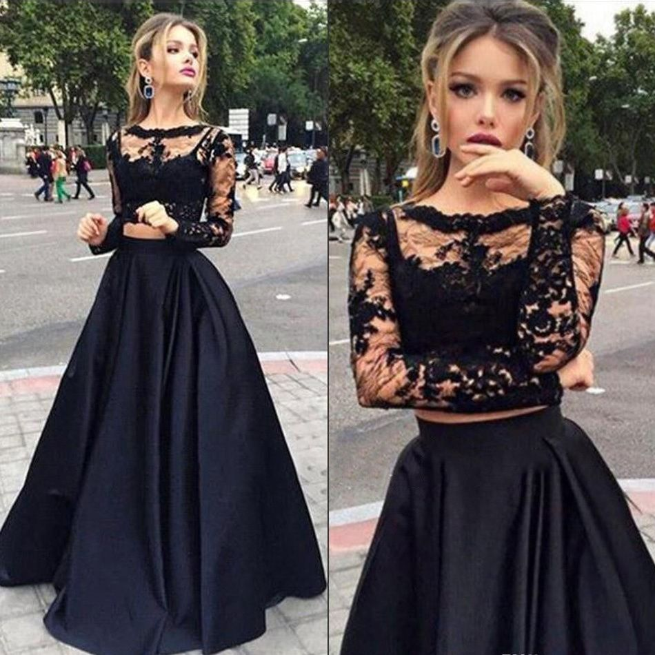 Long sleeve lace prom dress two piece prom dress with lace prom