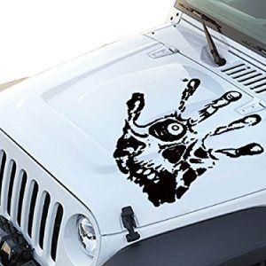 Fgd Black Skull Hand Print Hood Decal Sticker Jeep Stickers