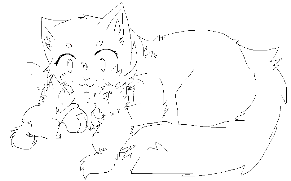 mother and kits lineart newsparkylovecupcakes  moms