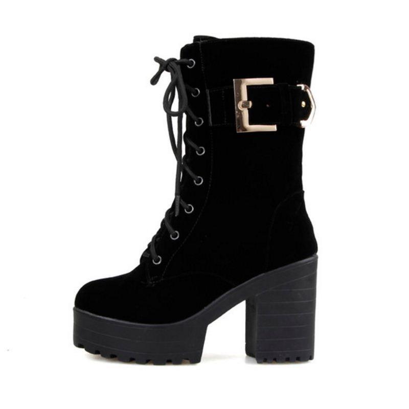 Boucle Femmes Chaussures Courtes Moitié À Taoffen D'hiver Bottes xOdq4wCXg