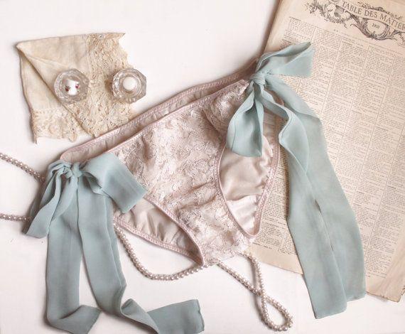 e88df898c97 Side Tie 'Luna' Lace Panties in Champagne & Seafoam by ohhhlulu ...