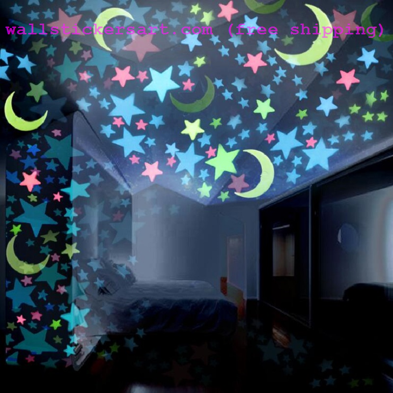 3d Luminous Stars And Moon Glow In The Dark Wall Sticker Free Shipping Wall Stickers Art Wall Stickers Room Wall Stickers Glow In The Dark Kids Room Wall Art