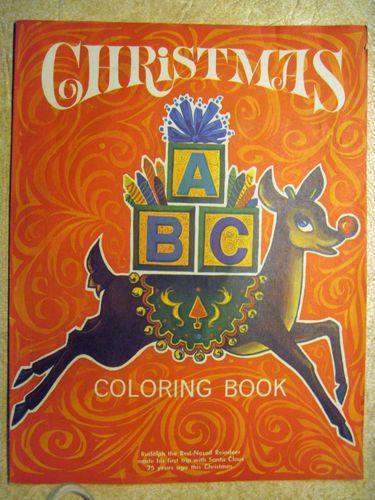 1964 25th Anniversary Rudolph Red Nosed Reindeer Coloring Book Montgomery Ward Christmas Deer Vintage Christmas Red Nosed Reindeer