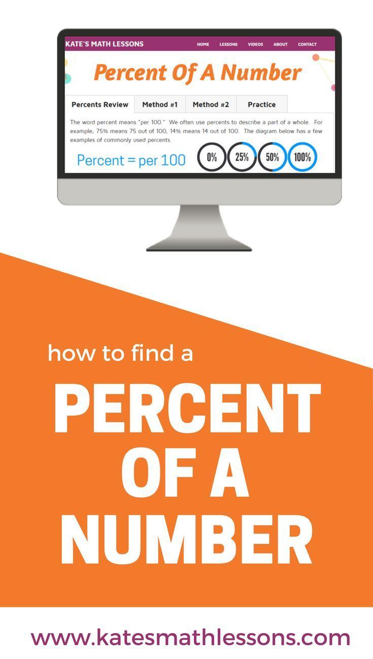 Percent of a Number Algebra lessons, Percents, Math lessons