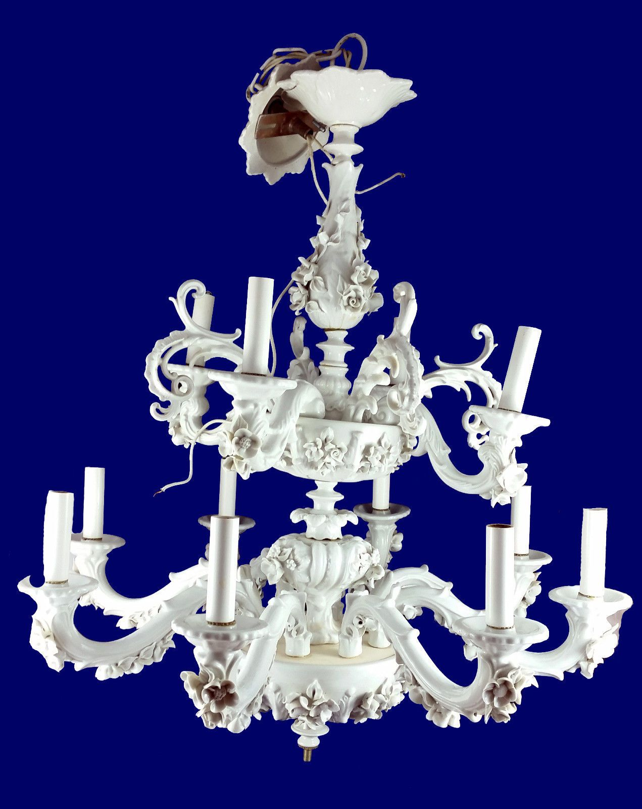 Antique italian mangani porcellane darte italy chandelier white antique italian mangani porcellane darte italy chandelier white collection ebay arubaitofo Image collections