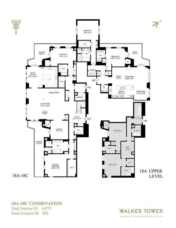 212 West 18th St 18ac Condo Apartment Sale At Walker Tower In Chelsea Manhattan Streeteasy Luxury Floor Plans Mansion Floor Plan Apartment Floor Plans