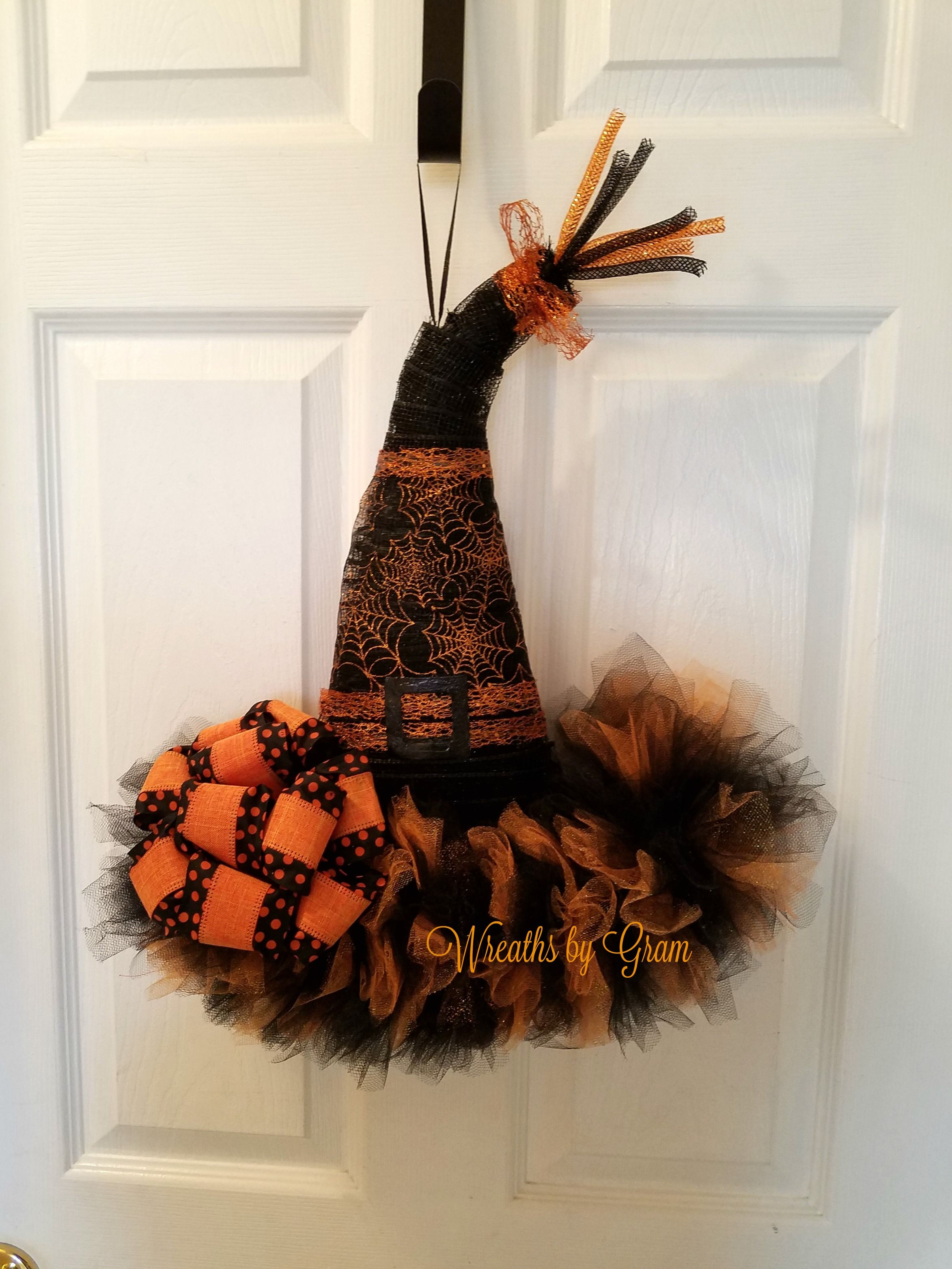 Witch Hat Wreath Witches Hat Door Hanger Halloween Decor - Witch Decorations For Halloween