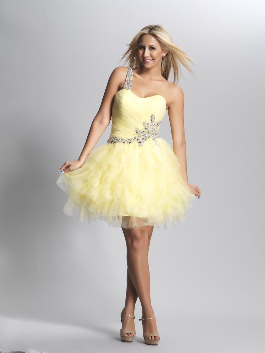 short prom dresses with straps | ... Shoulder Tulle Yellow Short ...
