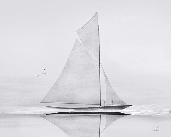 Schooner - 5 x 7 nautical sailing ship schooner art painting on Etsy, $12.00