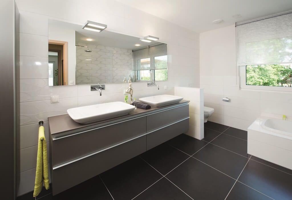 Einrichtungsideen Haus modernes badezimmer mit doppelwaschtisch und bodenfliesen grau