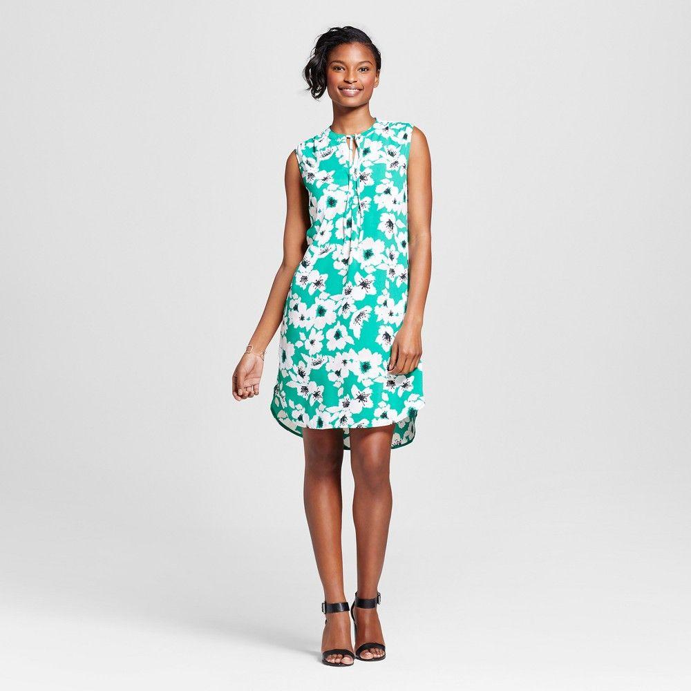 Women\'s Crepe Floral Shirt Dress - Merona Green Floral M, Azure Blue ...