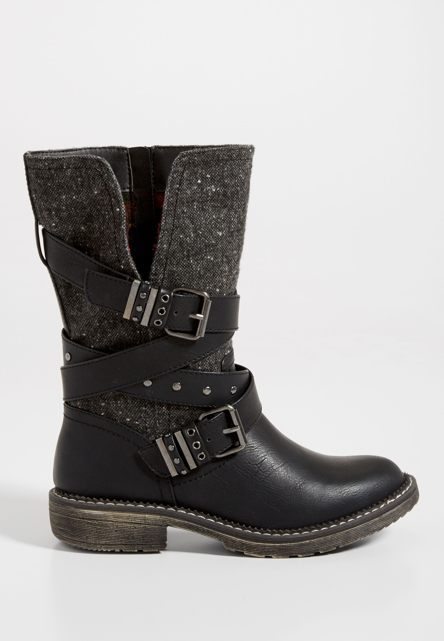 Ruby faux leather and fabric boot with buckles