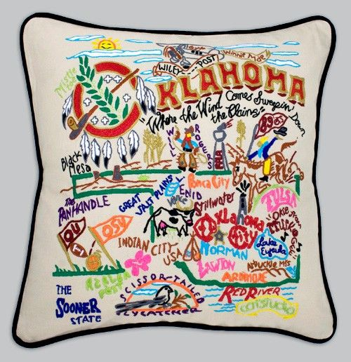 Cat Studio Embroidered State Pillow - Oklahoma
