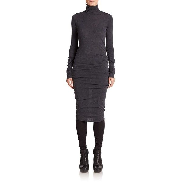 Rick Owens Lilies Lupetto Turtleneck Dress ($620) ❤ liked on Polyvore featuring dresses, apparel & accessories, black, turtleneck dress, long sleeve black dress, sleeve dress, turtle neck sweater dress and long sleeve ruched dress