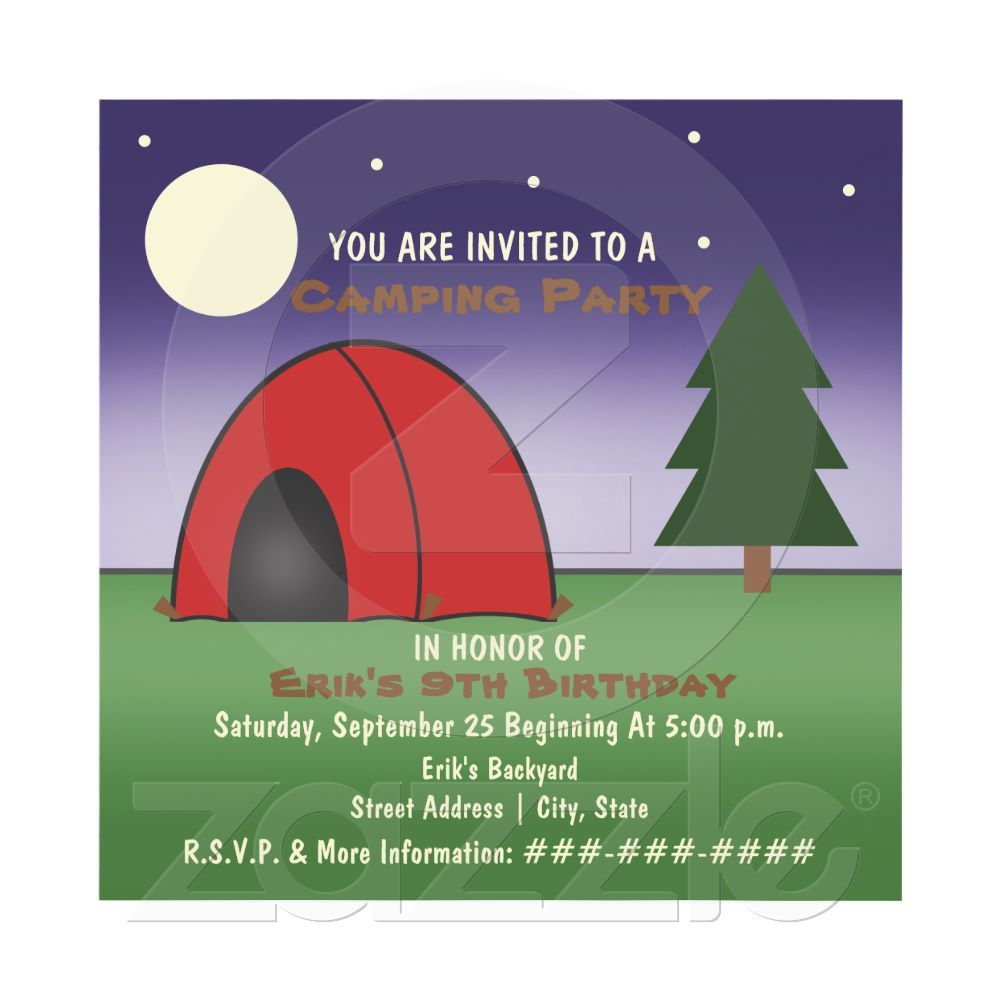Contemporary Camping Party Invites Image Collection - Invitations ...