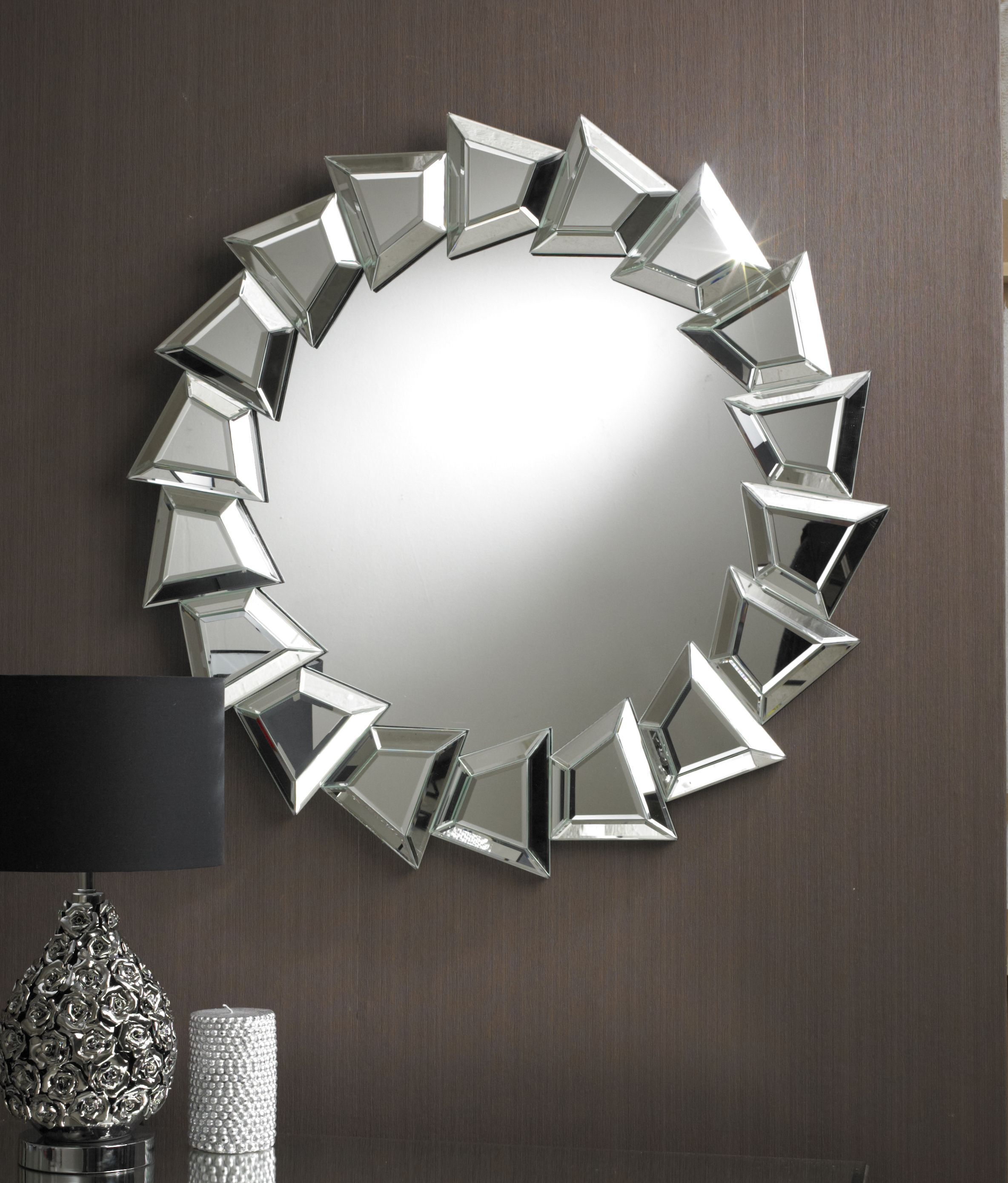 This Dramatic Round Designer Mirror Features A Stunning Border Composing A  Series Of Clear Bevelled Glass
