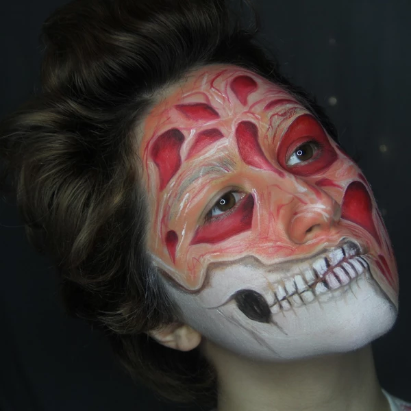 Halloween Mashup Half Face Freddy Krueger And Skeleton Face Paint By Ptbarpun Skeleton Face Paint Skeleton Face Special Effects Makeup Artist